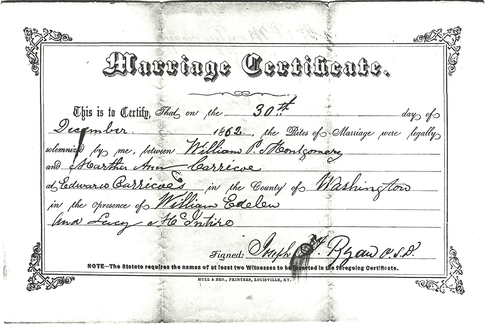 Montgomery County Marriage License Records The Usgenweb Archives
