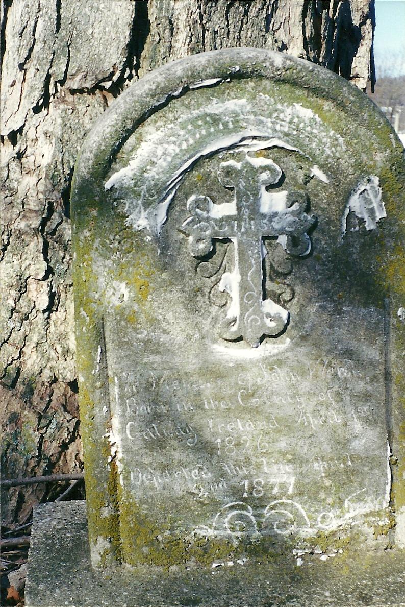 John Welsh, born Galway, Ireland, April 1, 1826, departed this life April 2, 1871