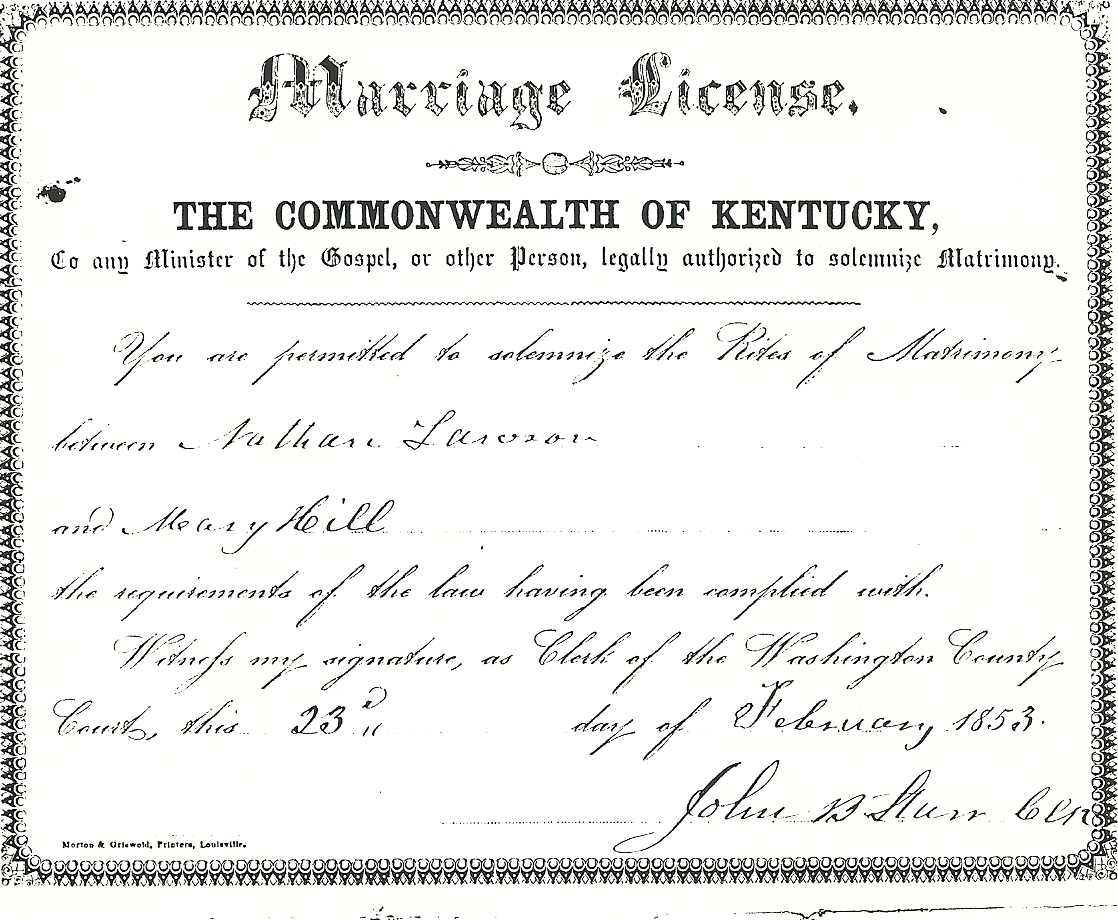 Nathan Lawson – Mary Hill Marriage | Kentucky Kindred Genealogy
