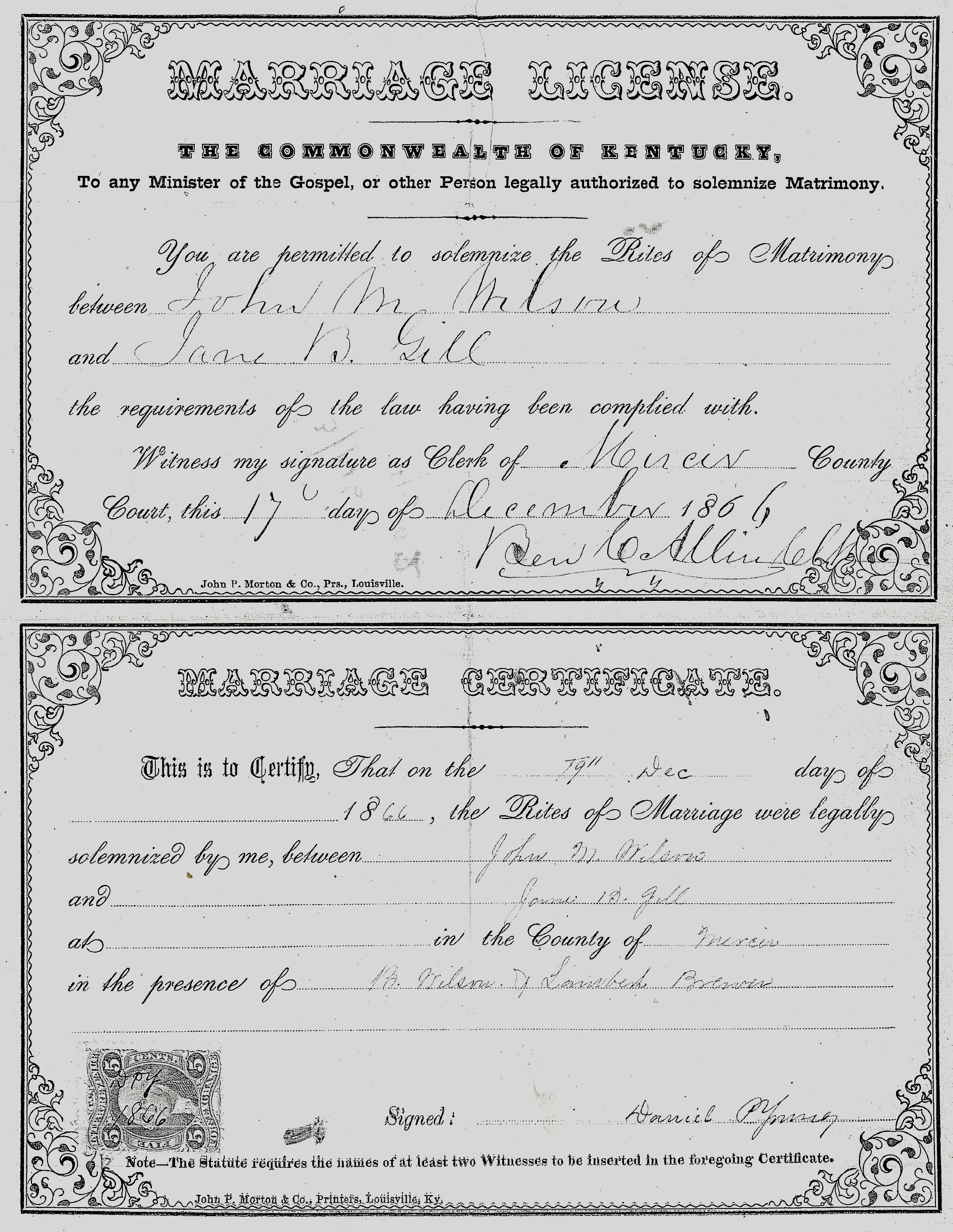 John M. Wilson – Jane B. Gill 1866 Marriage License and Certificate ...