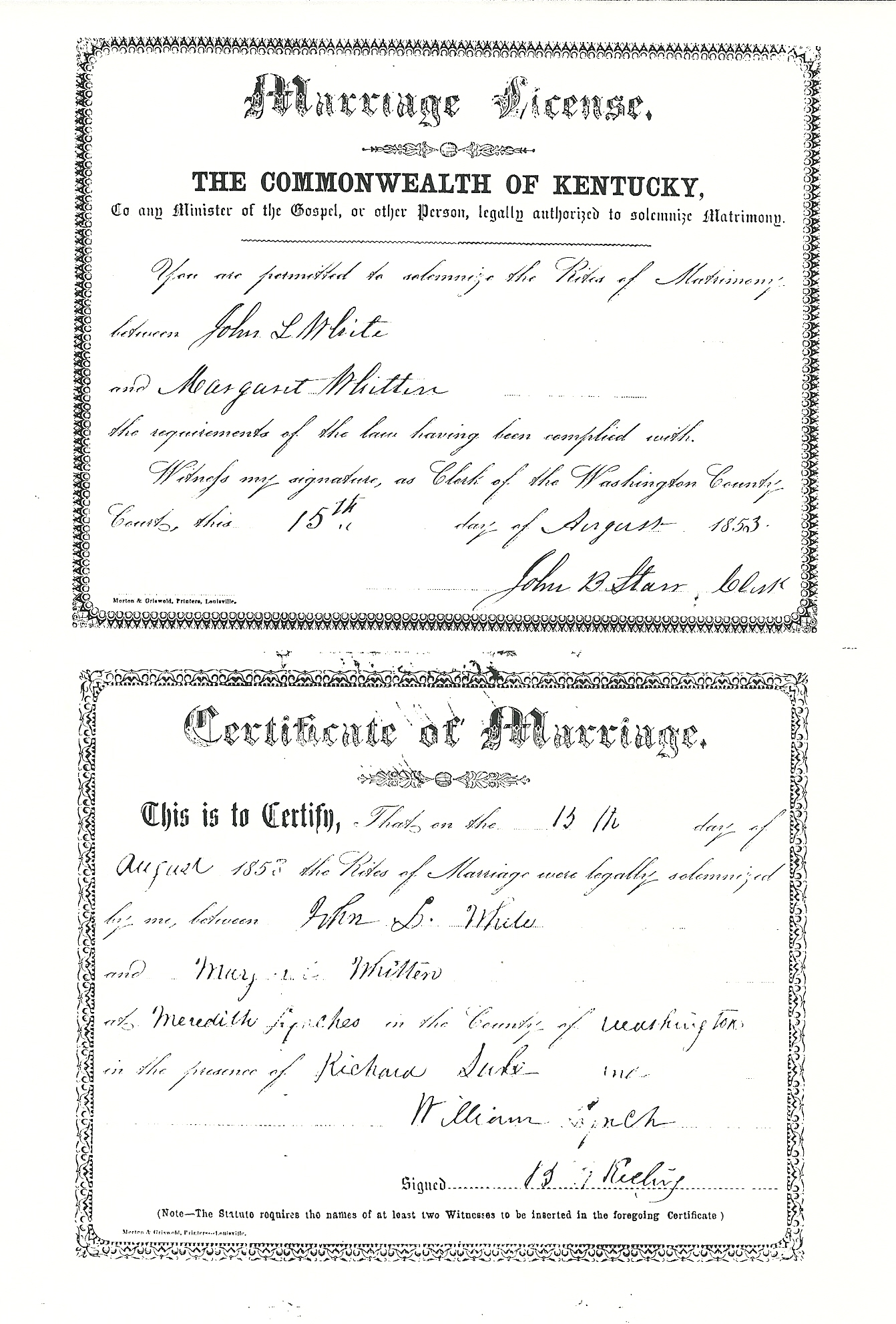 White Whitten 1853 Marriage Kentucky Kindred Genealogy