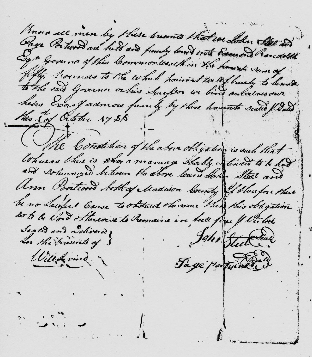 John Steel And Ann Portwood 1788 Marriage Bond