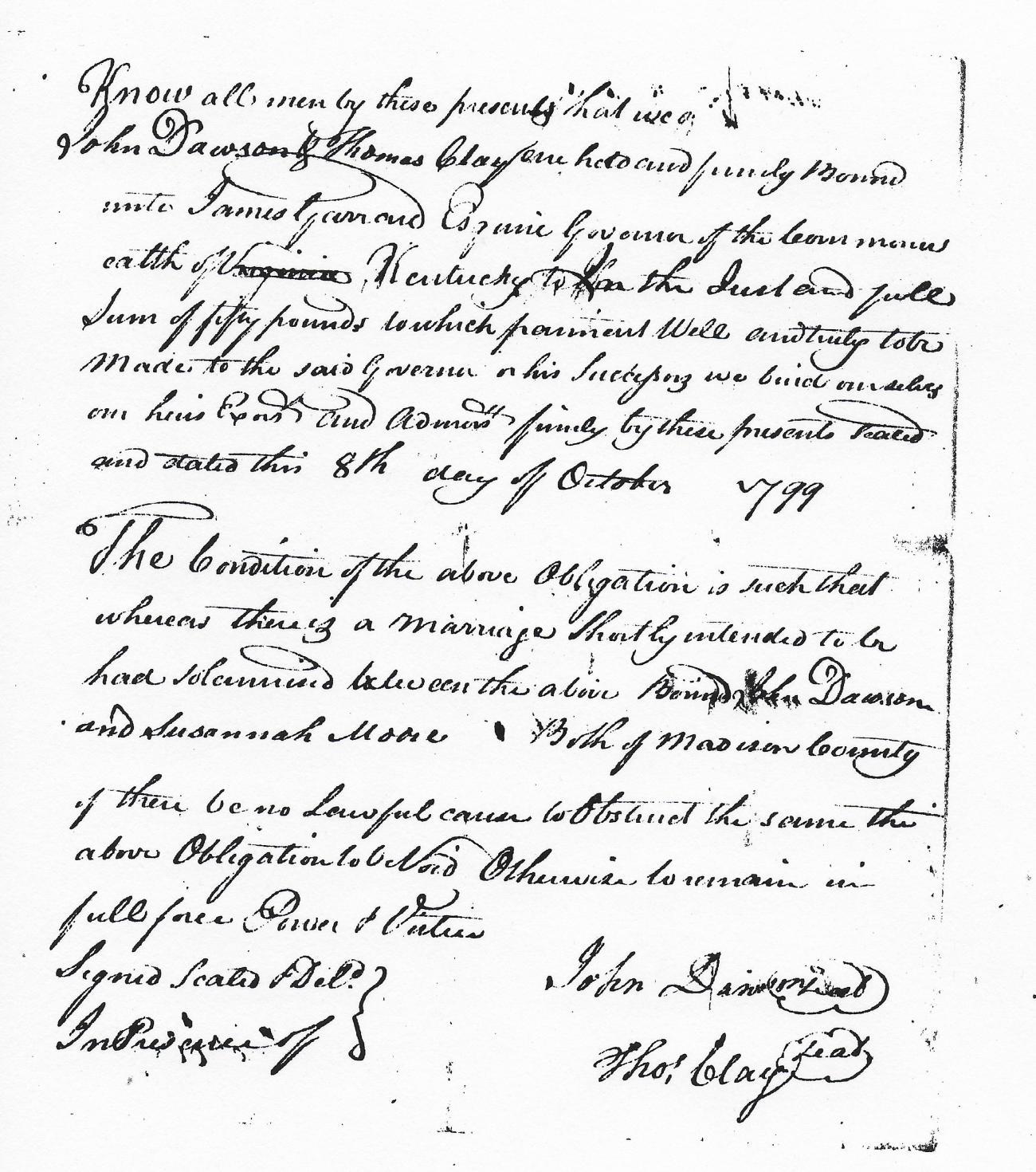 John Dawson And Susannah Moore 1799 Marriage Bond