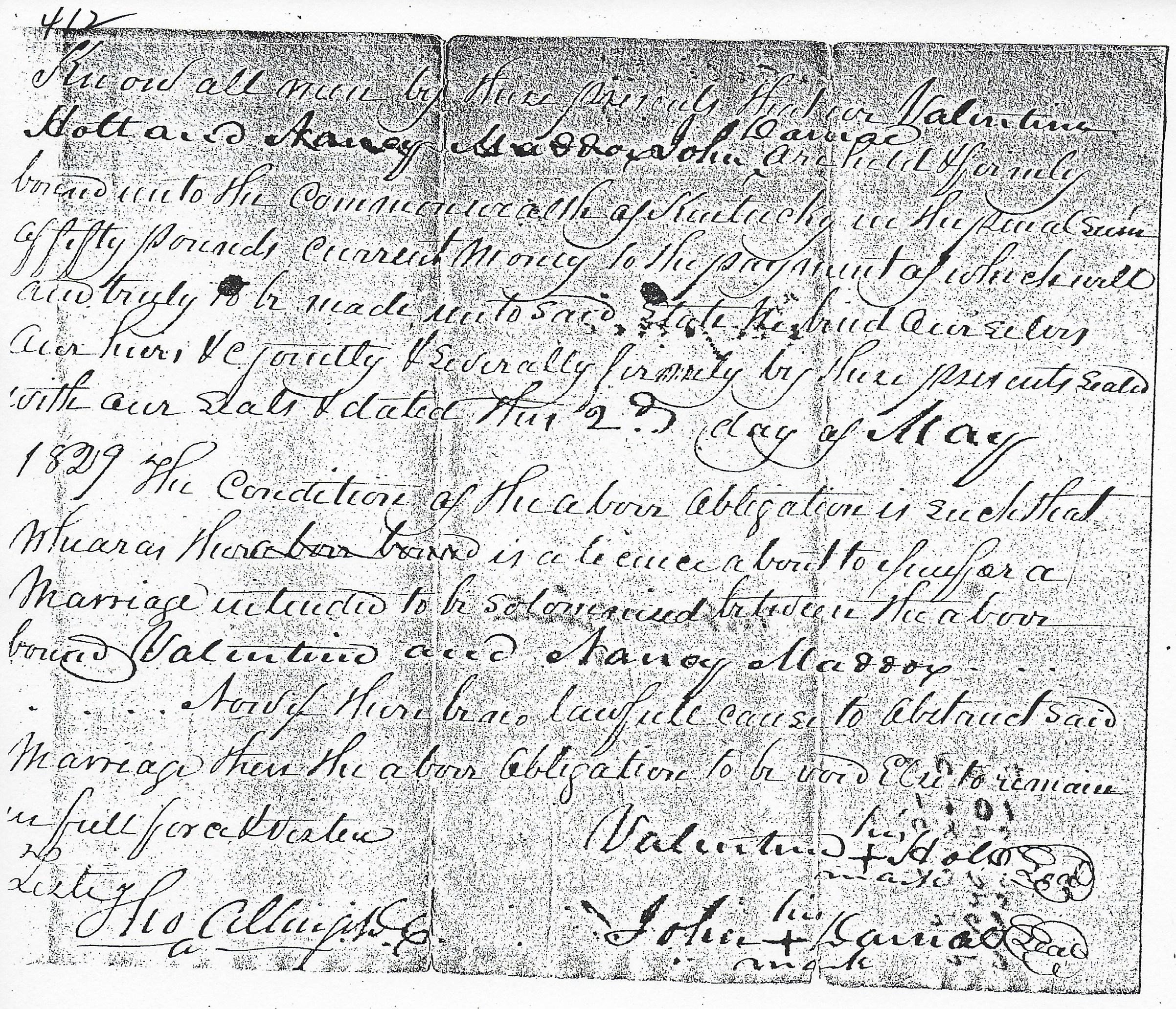 Maddox 1829 Marriage Bond And Consents