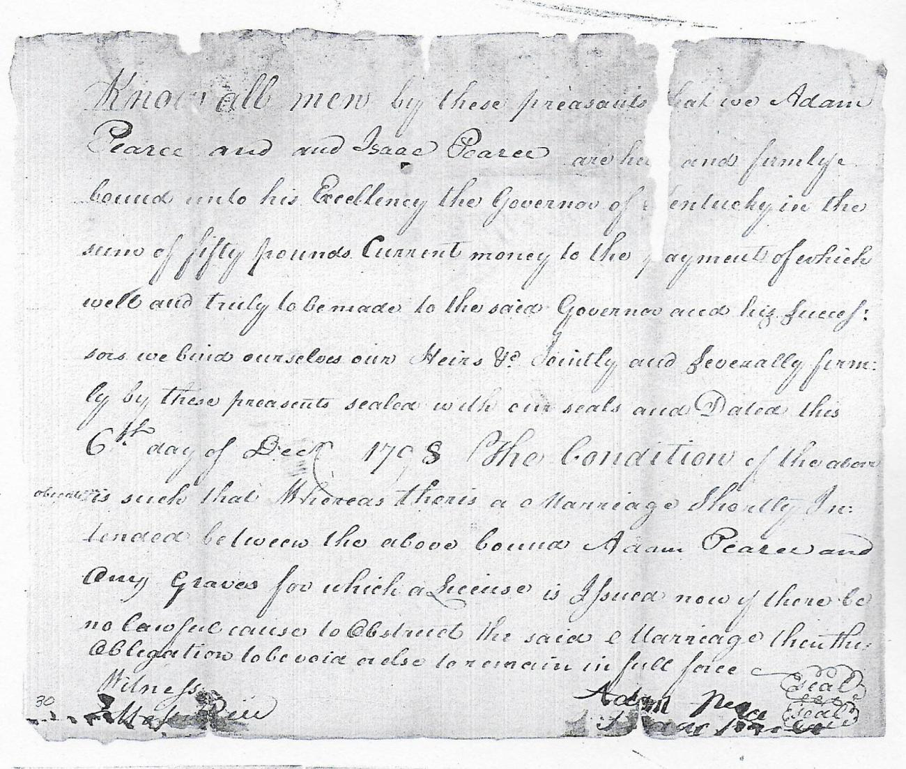 Amy Graves 1798 Marriage Bond
