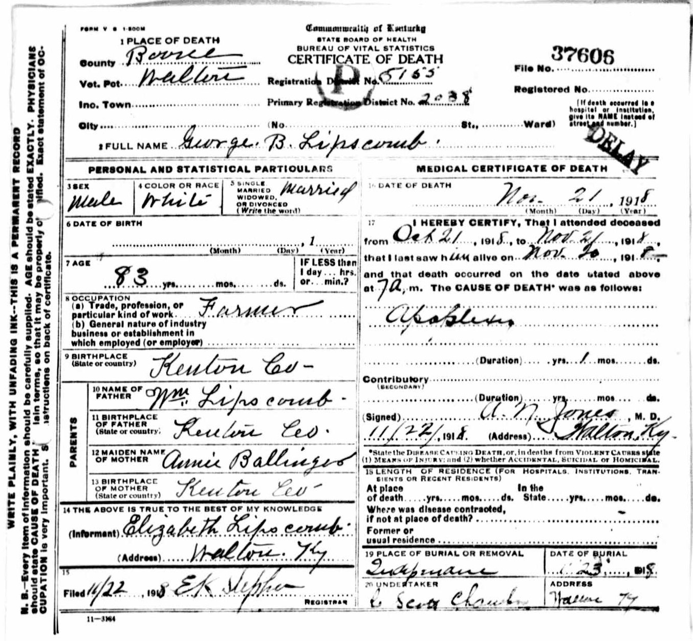 Death certificates kentucky kindred genealogy george b lipscomb died november 21 1918 of stroke his death certificate gives his age as 83 but does not list a date of birth his parents were william 1betcityfo Choice Image