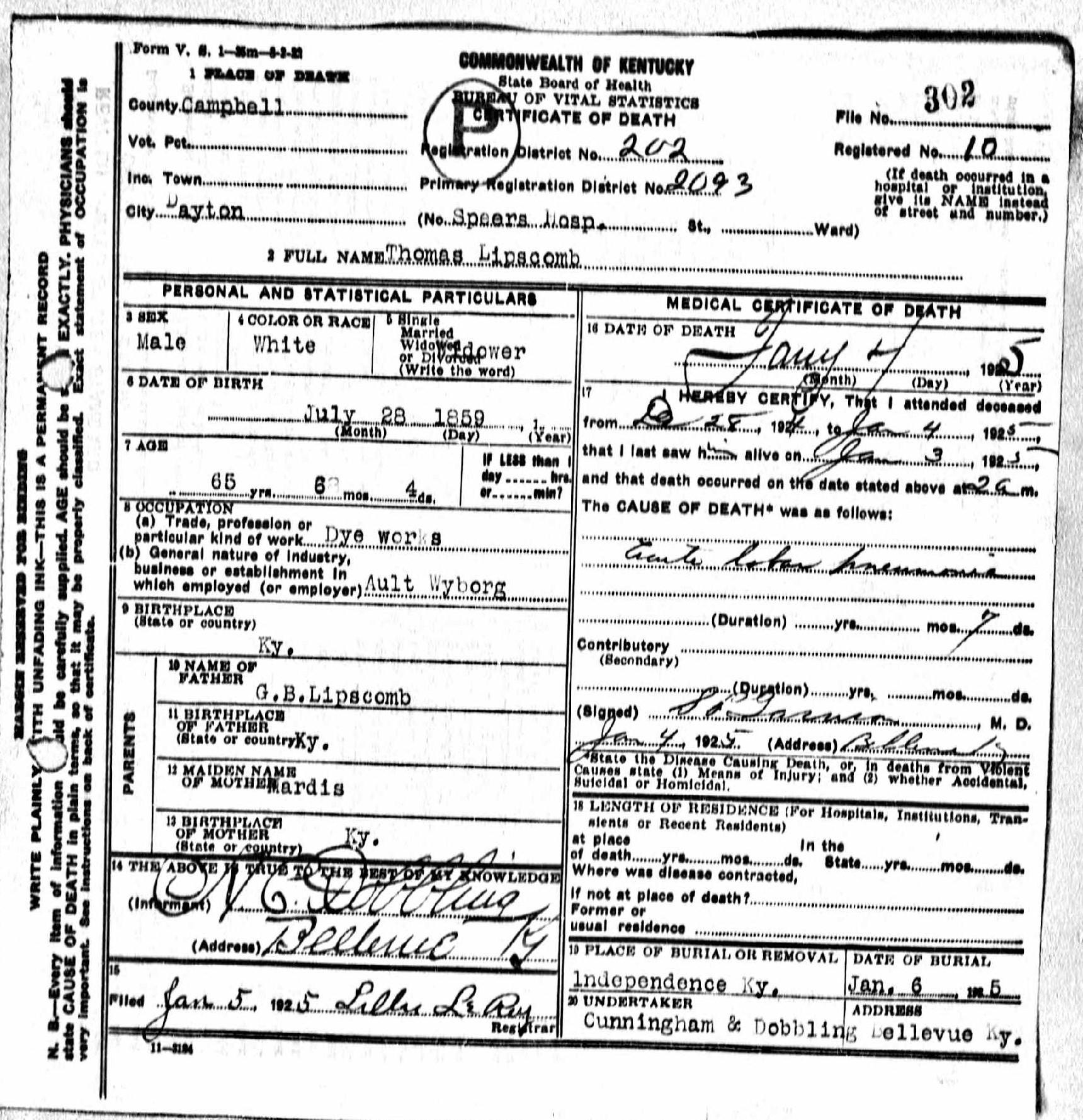 Death Certificates Kentucky Kindred Genealogy
