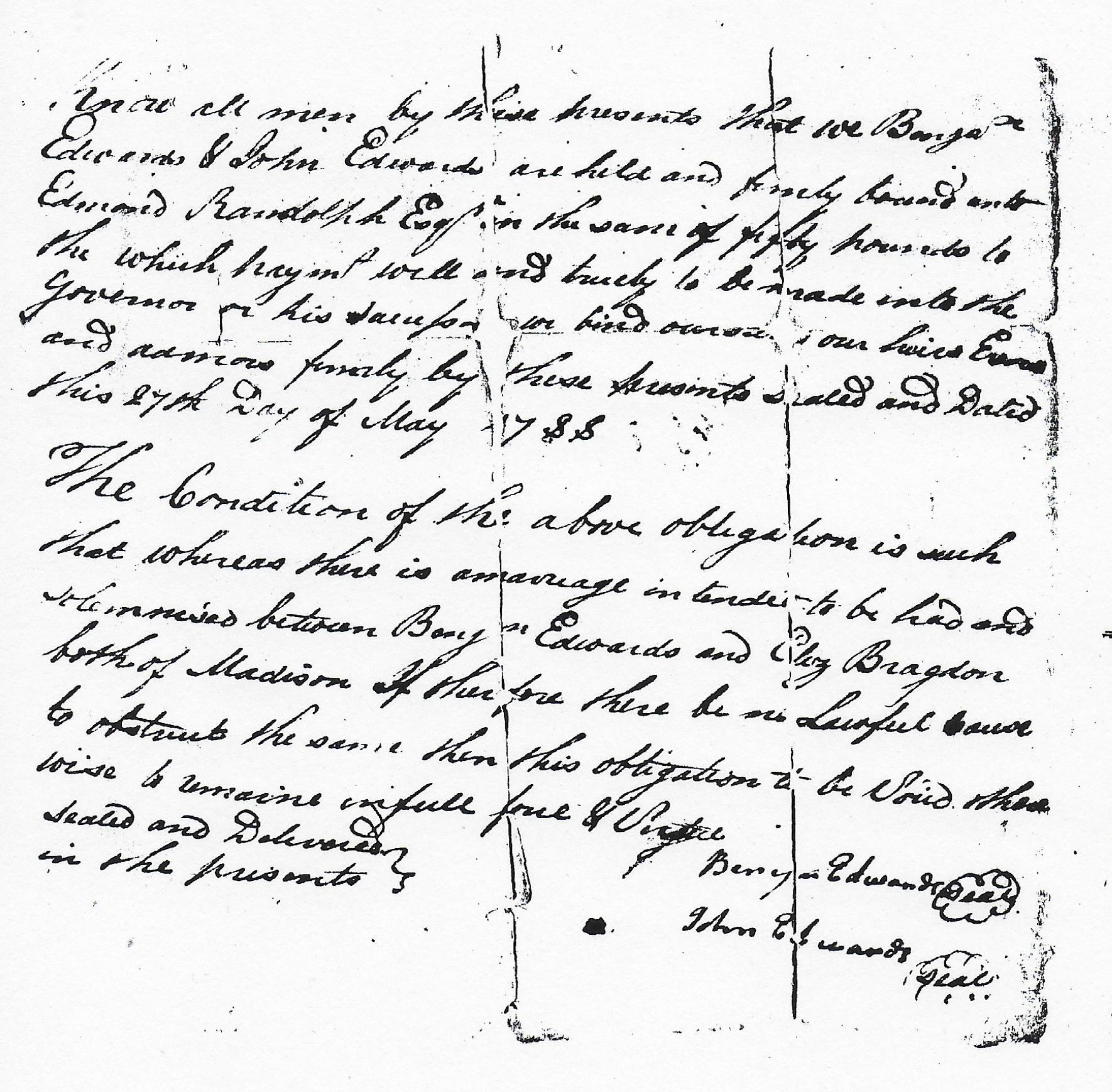 Benjamin Edwards And Elizabeth Bragdon 1788 Marriage Bond