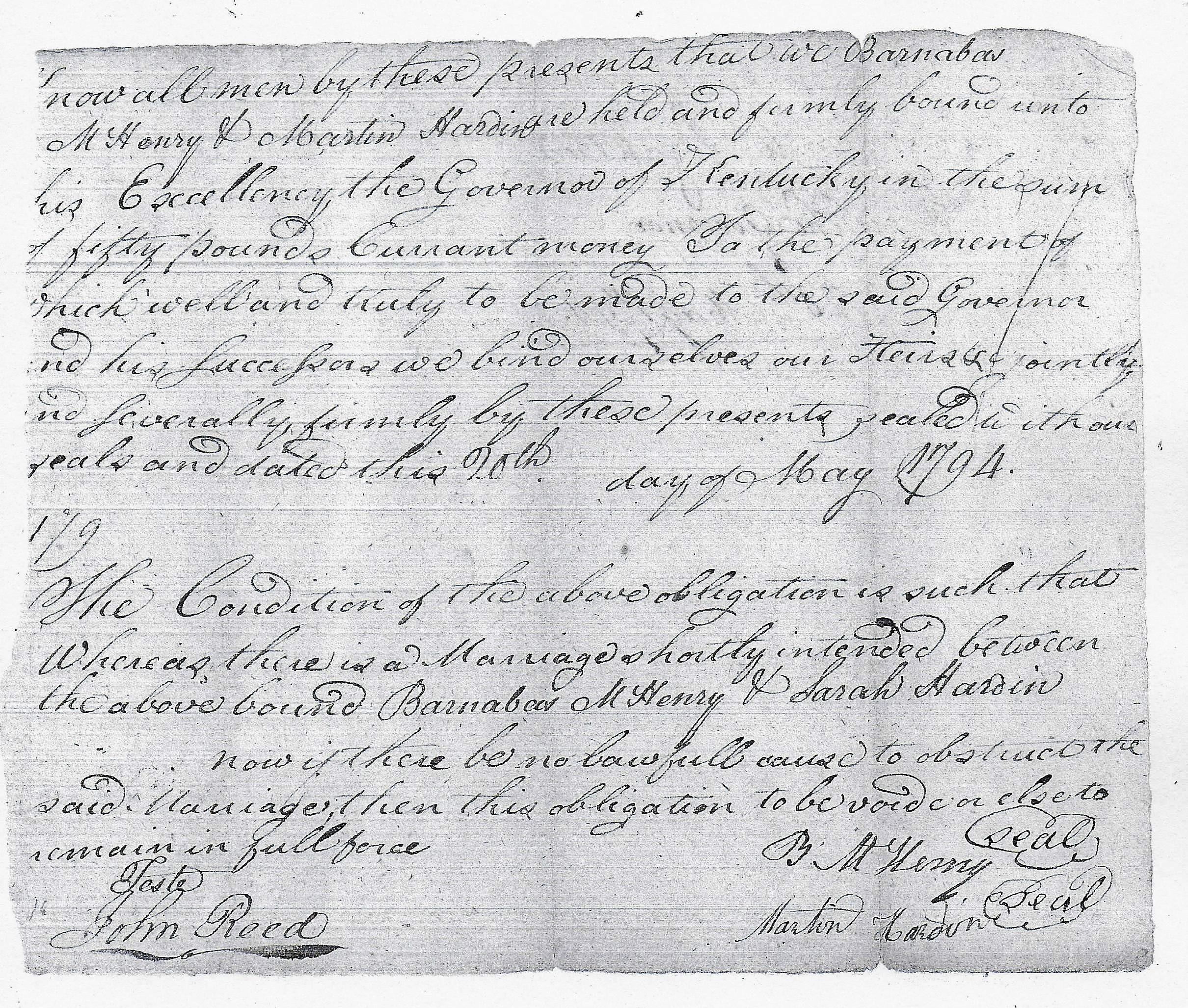 Henry-Hardin 1794 Washington County Marriage Bond