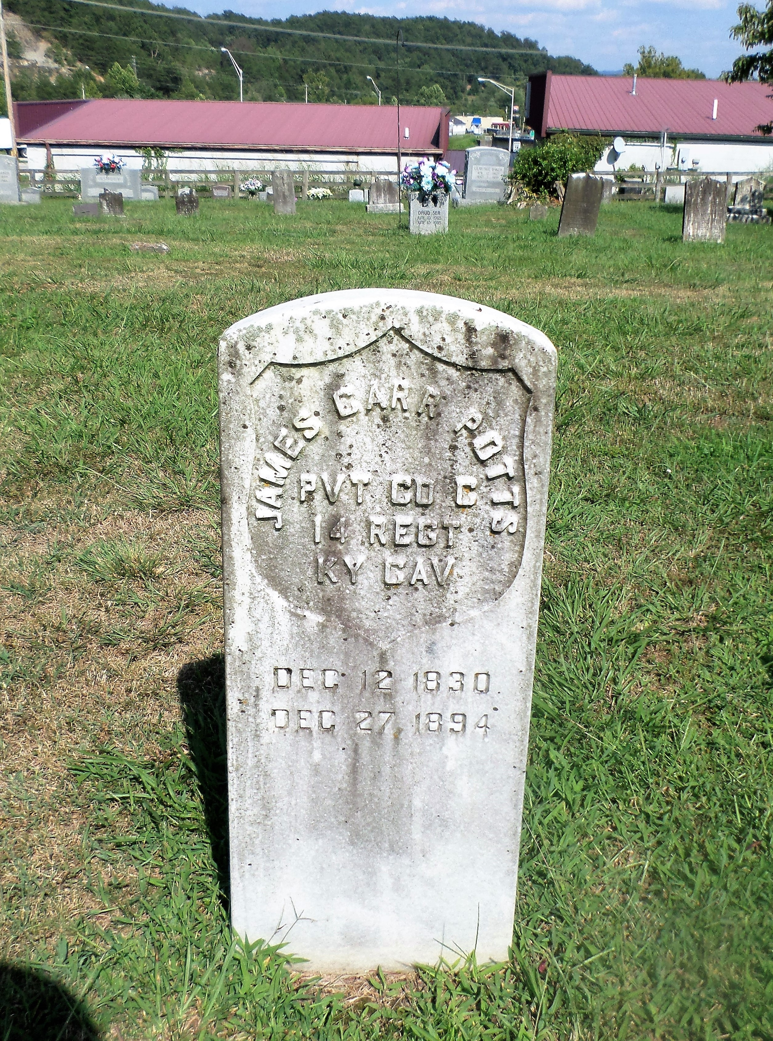 e9486cbafc131 James Carr Potts, Private, Co. C, 14th Regiment Kentucky Cavalry. December  12, 1830 – December 27, 1894. Powell's Valley Baptist Cemetery, Powell  County, ...