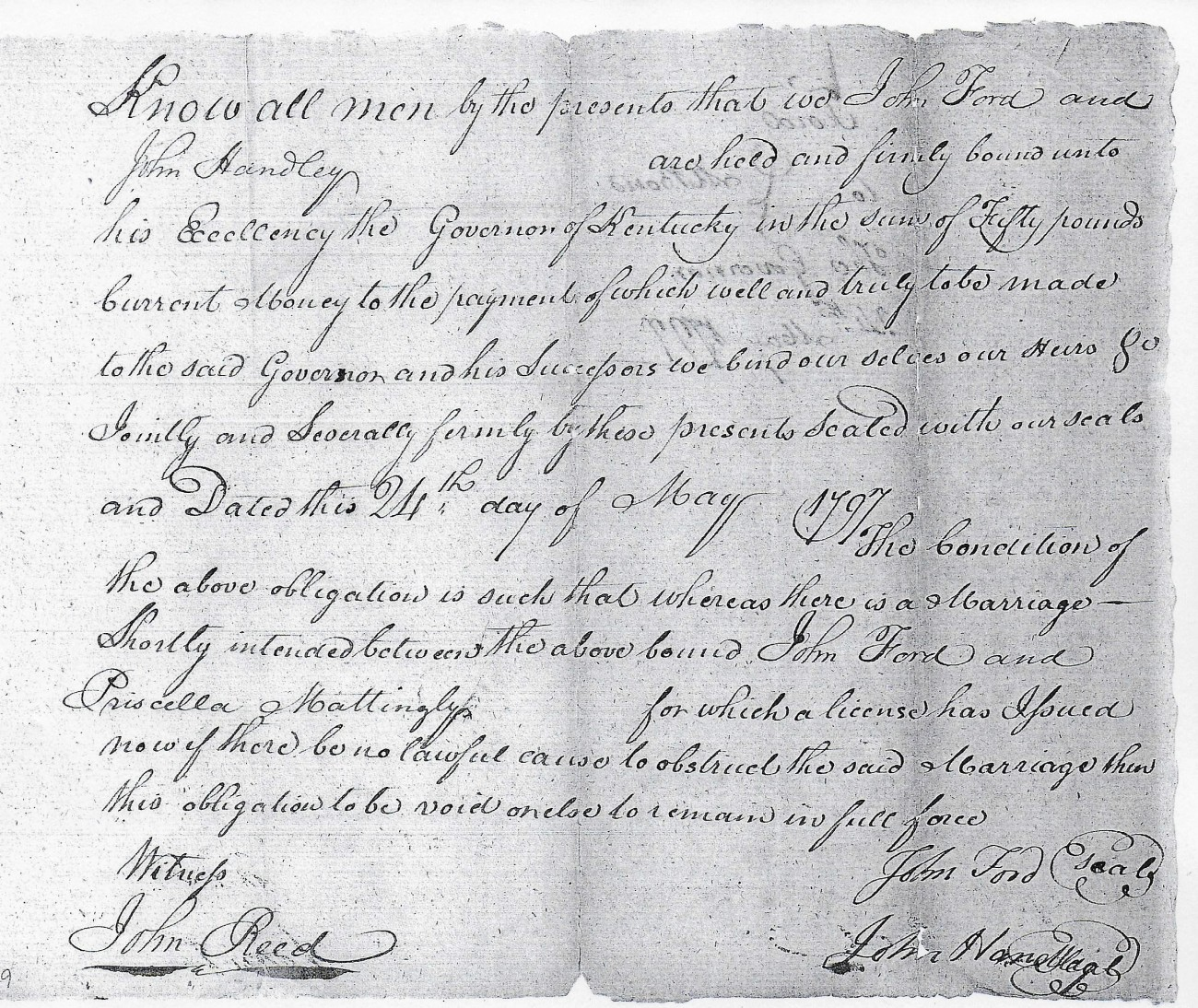 1797 Ford-Mattingly Marriage Bond And Consent