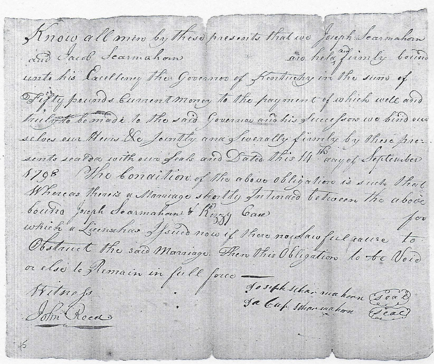 1798 Marriage Bond And Consent